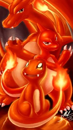Charmander Evolutions by ShupaMikey