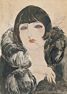 Kees van Dongen, Retrato de una mujer con un cigarrillo (Kiki de Montparnasse), c. 1922-1924. Acuarela sobre papel. 49,5 x 35,4 cm. ► Conoce más en Museo Thyssen-Bornemisza.