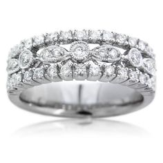 Diamond Antique Style 18k White Gold Wedding Band Ring