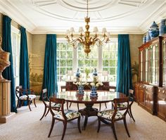 Theodore Alexander's Althorp Patent Jupe Table makes an appearance in Architectural Digest's January 2015 edition.