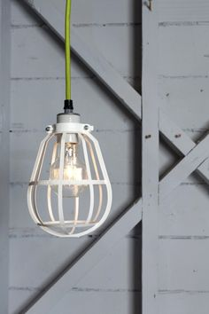 industrial caged lighting.