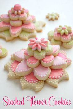 Stacked flower cookies - fun for events and party favors!