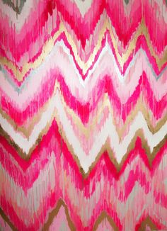 Cotton Candy Original ikat chevron 36x48 Painting by by jmoreman82, $850.00