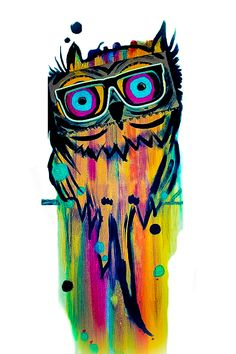 Hipster owl painting