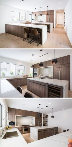In this large kitchen, wood cabinetry has been paired with light countertops for a modern appearance. A central island with a secondary sink adds more counterspace to the large kitchen, and provides a place to have a wine fridge and additional storage.