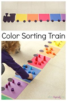 This color sorting train is a great for kids to learn colors. They can also work on counting. A fun color recognition activity for toddlers and preschoolers! Learning Colors for Toddlers Preschool Colors, Preschool Math, Toddler Preschool, In Kindergarten, Kindergarten Crafts Summer, Infant Toddler Classroom, Toddler Daycare, Toddler Play, Toddler Learning Activities