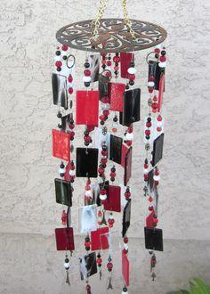 Stained Glass Wind Chime, Fused Glass, Black, Red & White, Sun Catcher, Handmade www.ebay.com/usr/MattsGlassact