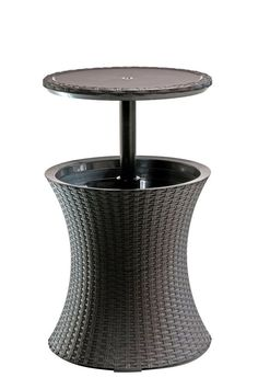 Bar Rattan Cool Brown Table Patio Cocktail Ice Cooler Outdoor Pool Bbq Yard Deck #Keter
