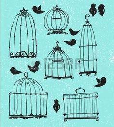 Set di gabbie di doodle e uccellini photo