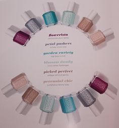 Quick Look: Essie Spring 2015 Collection Swatches, Bottle Shots & Press Release Essie Nail Polish Colors, Nail Colors, Beautiful Nail Polish, Petal Pushers, Blue Orchids, Nail Polish Collection, Dream Nails, Press Release, Spring 2015