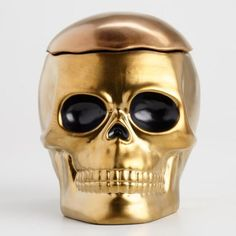 World Market Gold Ceramic Skull Cookie Jar