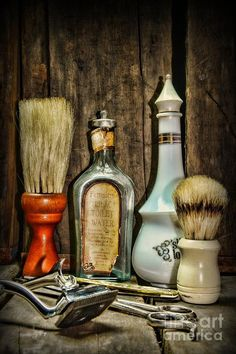 Barber - Vintage Barber Bottles Art Print by Paul Ward. All prints are professionally printed, packaged, and shipped within 3 - 4 business days. Choose from multiple sizes and hundreds of frame and mat options. Barber Poster, Barber Logo, Barber Shop Vintage, Barber Shop Decor, Andrea Barber, Photographie New York, Barbershop Design, Barbershop Ideas, Wet Shaving