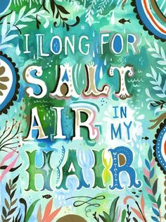Salt Air in My Hair - bring your love of the beach home with this adorable new wall decal art by Katie Daisy. $20 gets you this as a stickable poster, but it's also available as stretched canvas art!