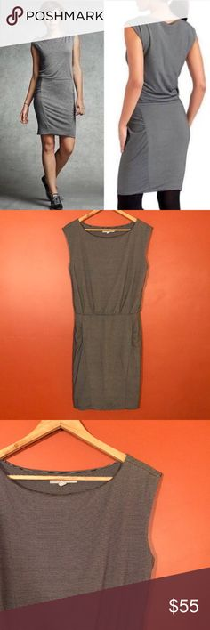 """NWOT Athleta Westwood Micro Stripe Stretch Dress Athleta black and white micro striped dress. Very flattering scrunching on sides. Stretchy, thick material for all around comfort. Chest 18"""", length: 37"""". In new condition. Athleta Dresses Midi"""