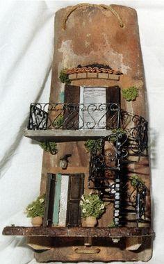 "Antiche Tegole (1) by ""Il Faro Presepi"" - Tegole personalizzate Easy Diy Crafts, Decor Crafts, Home Decor, Clay Wall Art, Cement Art, Christmas Nativity Scene, Fairy Garden Houses, Roof Tiles, Miniature Fairy Gardens"
