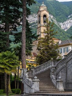Chiesa di San Lorenzo, Tremezzo, Italy - The steps are not related to the church but lead to a gorgeous public park right on Lake Como Oh The Places You'll Go, Places To Travel, Places To Visit, Italy Vacation, Italy Travel, Comer See, Lake Como Italy, Italian Lakes, Living In Italy