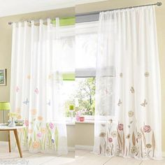 1Sheer BD Floral Flower Print Tab Top Tulle Curtains Panel Window Living Room