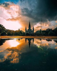 St. Louis Cathedral in Jackson Square in New Orleans with a beautiful reflection in the water