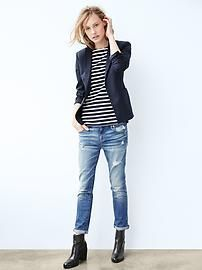 Shop Gap for Casual Women's, Men's, Maternity, Baby & Kids Clothes Getting this outfit top to bottom for my fall wardrobe. Outfit Jeans, Outfit Chic, Traje Casual, Blazer Outfits For Women, Casual Outfits, Mode Outfits, Fashion Outfits, Womens Fashion, Style Fashion