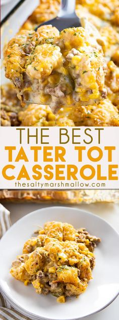 Best Ever Tater Tot Casserole is a classic comfort food recipe that everyone loves! This casserole is packed full of meat, green beans, corn, soup, and cheese for a totally satisfying dinner! #tatertotcasserole #tatertotcasserolegroundbeef #easytatertotcasserole #thesaltymarshmallow #tatertotcasserolerecipes #casserolerecipes