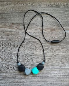 Geometric Bead Silicone Teething Necklace in Black, Turquoise, Grey – Sugarplum Collection