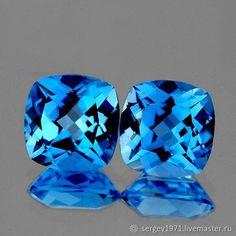 Materials: Topaz, Topazy Size: 7mm ##handmade Topaz Earrings, Close Up Photos, Blue Topaz, Gems, Cushions, Stone, Handmade, Auction, Pairs