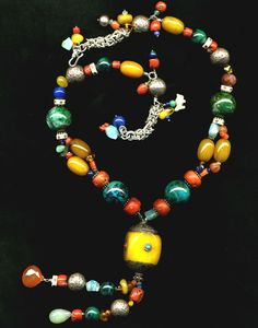 Image detail for -... African beads, new 20mm chrysocolla beads, hand-made sterling chain