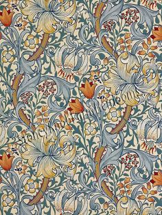 Golden Lily Wallpaper - Slate/Manilla - William Morris & Co Archive Wallpapers Collection William Morris Wallpaper, William Morris Art, Morris Wallpapers, Lily Wallpaper, Wallpaper Direct, Fabric Wallpaper, Pattern Wallpaper, Wallpaper Backgrounds, Golden Wallpaper