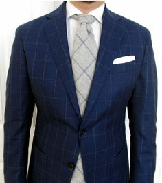 Windowpane Suit with Gray Windowpane Tie