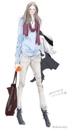 Bana.  Ζωγραφισμένα στο χέρι, μόδα, εικονογράφος. xunxun missy
