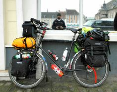 fully loaded with panniers and hydration! Touring Bicycles, Touring Bike, Mountain Bike Tour, Urban Bike, Bike Bag, Commuter Bike, Cargo Bike, Bicycle Design, Cycling Bikes