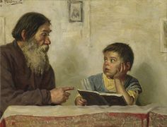 Konstantin Makovsky (1839-1915) - The lesson, oil on canvas.  Things of beauty I like to see