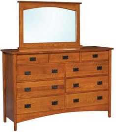 Amish Outlet Store : Arts & Crafts High Dresser w/Mirror in Oak