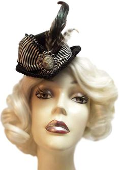Pinstripe Cameo Mini Victorian Steampunk Fascinator Tea Party Top Hat. $30.00, via Etsy.