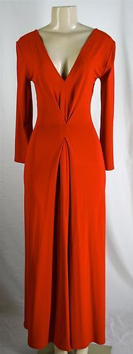 to die for!! this breathtaking New VALENTINO Red Gown Dress Sz 38 2 4 Deep V Neck Long Slit - Retail Over 7k!