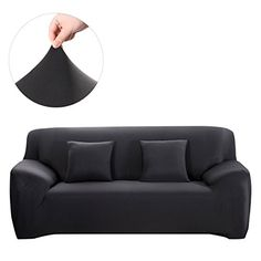 WINOMO Sofa Slipcover Black Couch Covers Furniture Protector with Pillow Cases Elastic Loveseat Covers, Couch And Loveseat, Loveseat Slipcovers, Chair Covers, Chesterfield Sofas, Canapé Design, Sofa Design, Furniture Styles, Sofa Furniture
