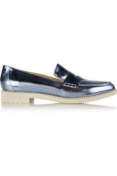 Oscar de la Renta | Tenzin embellished metallic leather loafers | NET-A-PORTER.COM