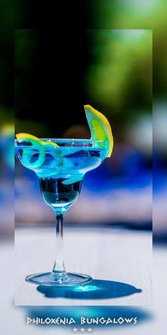 Electric Lemon №6 in the row We chose it for its color --> Clear Blue Like the #sea and the #summer #sky A lightweight sourness...just to give you a little goose bumps.  #Saturdays_Countdown #philoxenia_bungalows #cocktails #night #cocktailoftheday #favorite  We serve it... You enjoy it!!!