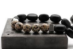 Black Onyx Necklace Dalmatian Jasper Bold by SunSanJewelry on Etsy