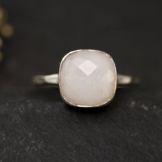 10% Off - White Agate Silver Ring - Gemstone Ring - Bezel Set Ring - Stackable Ring - Size  4, 5, 6, 7, 8, 9. $62.00, via Etsy.