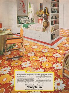 Get down with 70 groovy vintage vinyl floors from the & - Click Americana Retro Room, Vintage Room, Vintage Decor, Vintage Stuff, 70s Bedroom, Bedroom Decor, Bedroom Colors, Bedrooms, Vintage Interiors