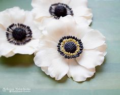 ♥This is new version White Anemone. The flowers in old technique you can see on first photo as background. ♥  Hairclip and Brooch White Anemone