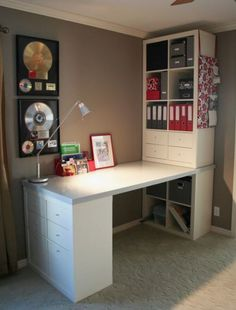 Ikea Kallax with Desk . Ikea Kallax with Desk . It Was Put to Her with Expedit Bookshelves From Ikea A Desk Hacks, Office Hacks, Ikea Hacks, Office Ideas, Ikea Office Hack, Ikea Hack Desk, Ikea Home Office, Office Decor, Ikea Desk Top