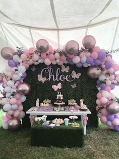 Enchanted Fairy Forest First Birthday Party – Geburtstag Motto Outfit Ideen Butterfly Garden Party, Butterfly Birthday Party, Butterfly Baby Shower, Fairy Birthday Party, Garden Birthday, Party Garden, Baby Shower Purple, Idee Baby Shower, Baby Girl Shower Themes