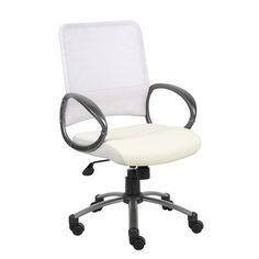 Boss Office Products Boss White Mesh Back W/ Pewter Finish Task Chair Office Chairs For Sale, Best Office Chair, Upholstered Swivel Chairs, Chair Cushions, Cute Desk Chair, Composite Adirondack Chairs, Hanging Chair From Ceiling, Mesh Chair, Accent Chairs For Living Room
