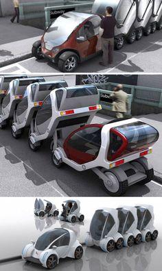 Stackable Futuristic Public Transit Cars, this would be awesome!! Nochmal was zum Thema Parken bei engen Verhältnissen und zu Multimodelketten. Manchmal braucht es nur guten Willen, gute Zusammenarbeit und einen ersten Schritt.