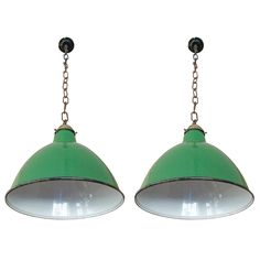 Pair of Mid Century Industrial Lights | See more antique and modern Chandeliers and Pendants  at https://www.1stdibs.com/furniture/lighting/chandeliers-pendant-lights