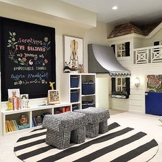A dedicated space for play with an adorable built in playhouse! Credit to @alicelaneinteriors
