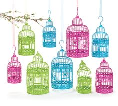#burtonandburton Bright colored metal bird cage decor. #colorful #birds #birdcages