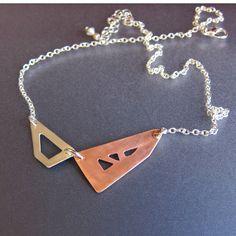 Mixed Metal Jewelry, Geometric Necklace